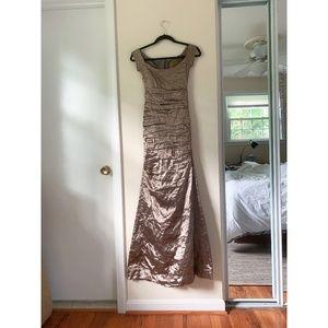 Nicole Miller gold floor-length gown